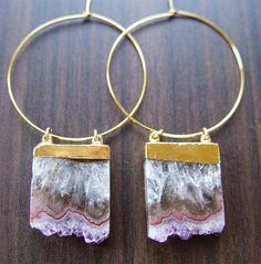 Amethyst Stalactite Druzy Earrings Gold OOAK by friedasophie, $79.00