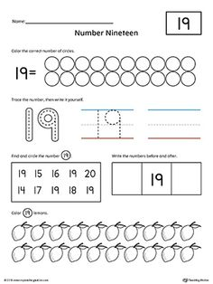Number 19 Practice Worksheet Worksheet.Help your child practice counting, identifying, tracing, and writing number 1 with this printable worksheet.