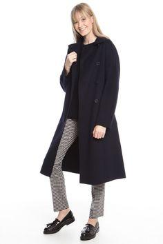 Cappotto in drap di lana, blu notte - Diffusione Tessile
