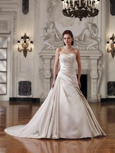 Satin Softly Curved Neckline Asymmetrically Draped Bodice A-line Wedding Dress