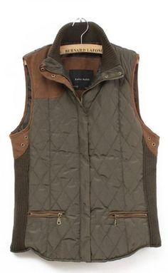 coffee sleeveless zipper pockets vest coat.  sheinside.com  us $44.56