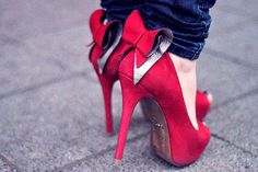 bow, bows, high heels, red