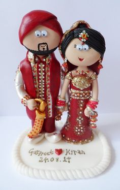 Asian Bride & Groom wedding cake topper. Handmade & totally personalised to look like the couple. Any outfits/poses are possible, something like this would be £149.99 for the couple, £9.99 for a base (they don't need on to stand up). NOT EDIBLE, I send my work anywhere in the World. #indianwedding #pakistaniwedding #weddings