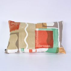 Open Screen Abstract Print Design: Hand Printed Oblong Cushion