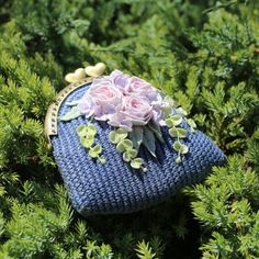 Crochet floral coin purse blue crochet small pouch with by LozArts