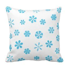 Light Aqua Blue Snowflakes Pattern Throw Pillow #custom #christmas #pillow #homedecor #holiday