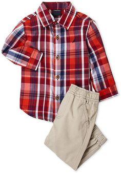 b9792d0ecc6 Nautica Infant Boys) Two-Piece Plaid Shirt   Jogger Set Little Man