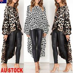 Women Leopard Print Casual High Split Crop Tops Long Maxi Shirt Dress Blouse - Khaki Dresses - Trending and latest Khaki Dresses. Cardigan Sweaters For Women, Cardigans For Women, Long Sleeve Sweater, Leopard Print Outfits, Leopard Shirt, Animal Print Outfits, Leopard Dress, Maxi Shirt Dress, Khaki Dress