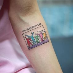 Keith Haring inspired tattoo on the let inner forearm. Tattoo artist: Woori