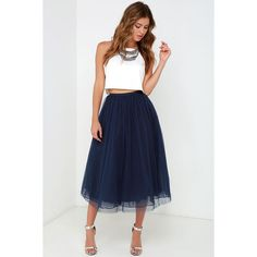 Give it a Twirl Navy Blue Tulle Midi Skirt ($69) ❤ liked on Polyvore featuring skirts, blue, ruched skirt, blue midi skirt, blue skirt, white midi skirt and midi skirt