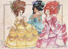 Rococo Princesses FANCY Dresses and Hair: Belle, Jasmine, and Ariel by TaijaVigilia.deviantart.com on @DeviantArt