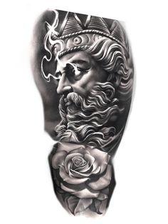 Half Sleeve Tattoos Drawings, Full Sleeve Tattoos, Tattoo Sleeve Designs, Chicano Art Tattoos, Forarm Tattoos, Body Art Tattoos, Poseidon Tattoo, Face Tattoos For Women, Hand Tattoos For Guys