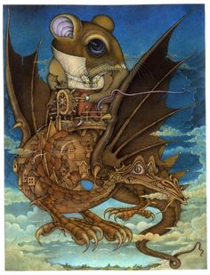 Wayne Anderson - Mouse flying a Dragon Wayne Anderson, Childrens Books, Illustrators, Illusions, Fairy Tales, Cool Art, Steampunk, Character Design, Fantasy