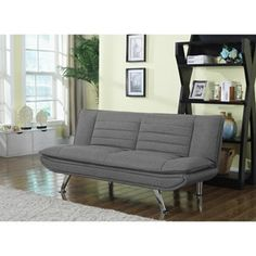 Futons+Grey+Sofa+Bed+with+Chrome+Legs