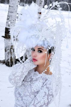 By Artist Unknown. White Queen, Red Queen, Pure White, Snow Queen Costume, Winter Gowns, Winter Wonderland Wedding, Church Hats, Festival Lights, Hair Jewelry