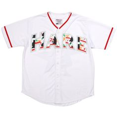 Hare Jordan Baseball Jersey ($50) ❤ liked on Polyvore featuring tops
