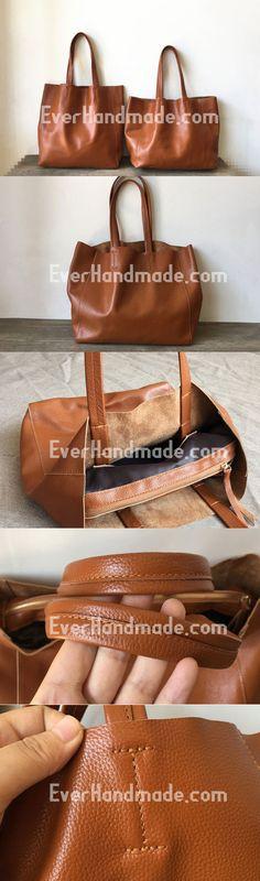 Handmade Vintage Leather Oversize Tote Bag Shoulder Bag