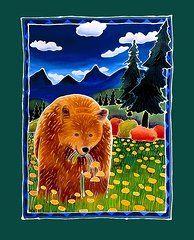 Harriet Peck Taylor Metal Prints - Bear in the Dandelions Metal Print by Harriet Peck Taylor