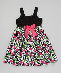 Look what I found on #zulily! Black Zebra Cherry Bow Dress - Girls by Youngland #zulilyfinds