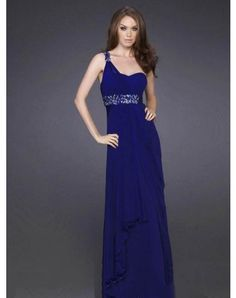 Sheath / Column One Shoulder Paillette Sleeveless Floor-length Chiffon Prom Dresses / Evening Dresses