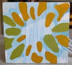 "5.5"" x 5.5"" Original Acrylic Painting on Wood - Flower with Mustard Yellow, Green and Blue Wash For sale on Etsy"
