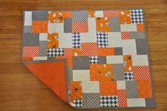 Baby quilt, orange, grey, cream!