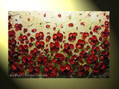 Original Abstract Textured Painting Red by ChristineKrainock, $275.00
