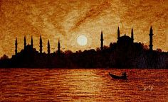 I like to paint the silhouettes of bildings at sunset. Here is a beautiful painting of Blue mosque, Hagia Sophia at sunset and a fishing boat.