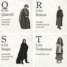 The Alphabet Illustrated With Harry Potter Characters And Witty One-Liners Harry Potter Alphabet, Harry Potter Books, Harry Potter Love, Harry Potter Characters, Harry Potter World, Harry E Gina, Ron Y Hermione, Must Be A Weasley, Witty One Liners