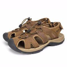 لناحجم6.5-10.5رجلالصيفشاطئ الصنادل عصا سحرية تعديل الأحذية الجلدية - Banggood موبايل