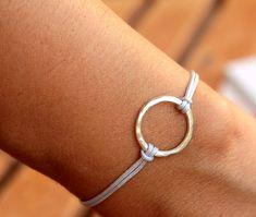 Friendship Bracelet Infinity Circle Bracelet Grey Hammered Karma Bracelet  Macrame Knot on Etsy, £10.49