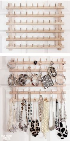 From Thread Rack To Jewelry Organizer. A super simple idea to repurpose the wood. - From Thread Rack To Jewelry Organizer. A super simple idea to repurpose the wooden thread rack into - Jewellery Storage, Jewellery Display, Gold Jewellery, Jewellery Shops, Jewellery Stand, Jewellery Earrings, Jewelry Stores, Closet Organization, Jewelry Organization