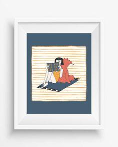 Bear and a girl,reading,friends print,Bear and Girl wall art,digital prints,home…
