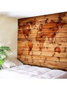 World Map Wall Hanging Wood Grain Print Tapestry
