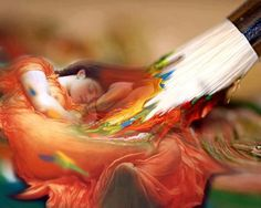 The strokes of a brush when colors fall like raindrops on the canvas, is a blessing from the Creator that makes the artist's hand dance across the canvas leaving us wondering at the image... -Khalid Rahim  artist: unknown - please advise if known..  (I have been informed that this is a Photoshopped copy of a beautiful painting by Sir Frederick Leighton - and in my humble opinion, beautifully done!)