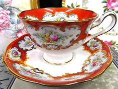 ROYAL ALBERT TEA CUP AND SAUCER RED & PAINTED ROSES FLORAL PATTERN TEACUP