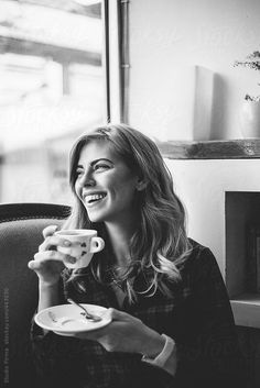 coffee girl Smiling young woman drinking coffee by Studio Firma for Stocksy United Foto Portrait, Portrait Photography Poses, Photography Women, Lifestyle Photography, Smiling Photography, Coffee Shop Photography, Photography Branding, Coffee Shot, Coffee Drinks