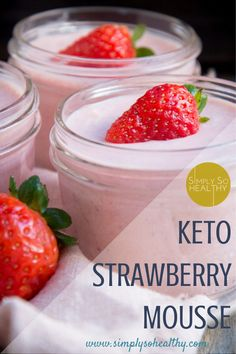 This Low-Carb Strawberry Mousse recipe makes clouds of creamy strawberry goodness. Low-carb, keto, Atkins, gluten-free, and Banting diet-friendly. Keto Friendly Desserts, Low Carb Desserts, Low Carb Recipes, Healthy Recipes, Yam Recipes, Protein Recipes, Shake Recipes, Vegetable Recipes, Healthy Food