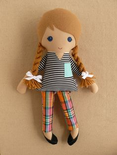 Fabric Doll  Rag Doll Blond Haired Girl in Black and White Striped Shirt and Plaid Cropped Pants