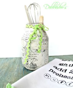 Upcycle a jar with paint, stencils, mod podge and more.