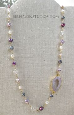 Gold edge Druzy agate slice Dyed dark peacock blue white fuchsia rose freshwater pearls Swarovski crystals wire wrapped goldfill necklace - pinned by pin4etsy.com