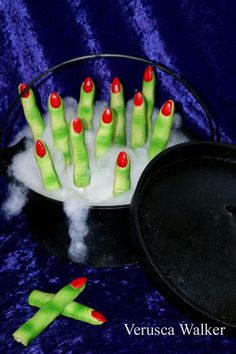 "Halloween Finger Cookies- really dig the ""nail polish"" I think a red sugar glaze might just work..."