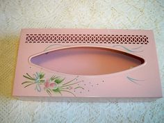 Vintage Tole Painted Metal Tissue Box Cover and Glass Pink Roses Bathroom Vanity Set by BlackRain4