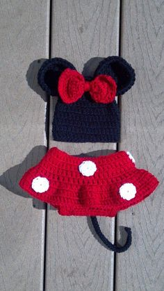 Minnie & Mickey Mouse Hat and Diaper Cover TWO in ONE by mandag433, $50.00