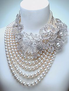 pearl and diamond necklace classic 5 strand pearls