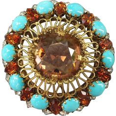 Spectacular Vintage Schreiner Rhinestone Brooch Massive Marvel from toinetterl on Ruby Lane