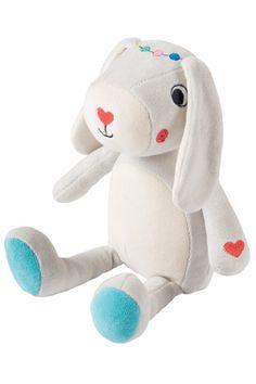 Öko Siegel Plüsch Hase Spielzeug für Baby weiß Kuscheltier Plüschtier Natur