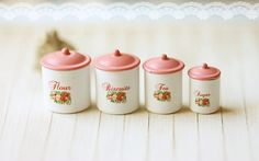 Dollhouse Miniature Kitchen Accessories- Kitchen Canisters in 1/12 Scale