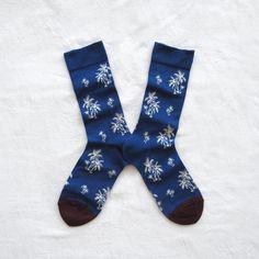 Chaussettes Bonne Maison / Bonne Maison socks - Palmiers Bleu Drapeau