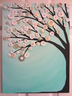 "Robin's Egg Blue Button Tree Painting- Original Acrylic with Vintage Buttons on Canvas- 12""x16"""